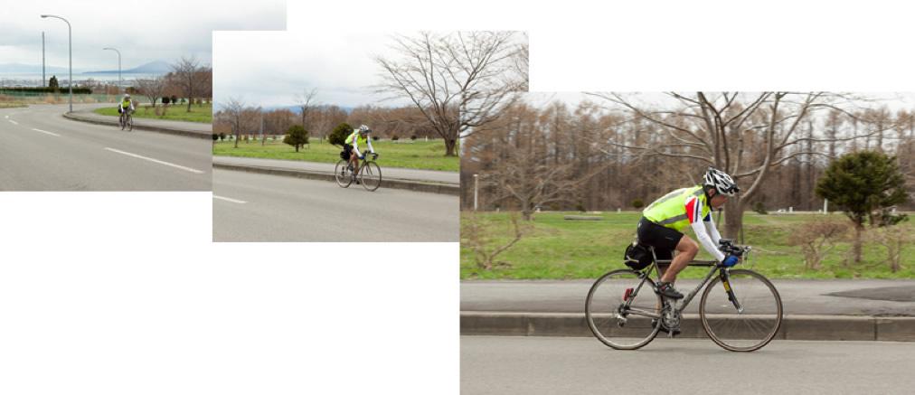 自転車に乗って走る片桐学長