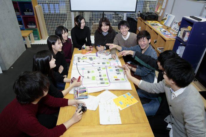 アイデア図を囲んで学生たちが課題解決に取り組む