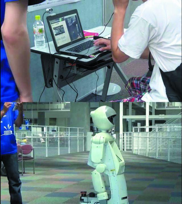 リモートで動くロボットの操作風景とロボットの画像